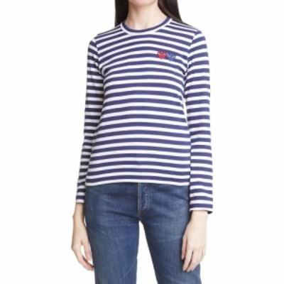 コム デ ギャルソン COMME DES GARCONS レディース Tシャツ トップス Play Stripe T-Shirt Navy