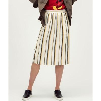 スカート 『MKT studio』マルチストライプサイドボタンスカート【大きいサイズ対応】