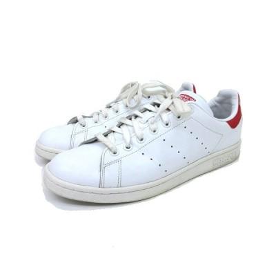 【中古】アディダス adidas スニーカー STAN SMITH スタンスミス M20326 レザー ローカット テニス シューズ 27.5cm 白  赤 レッド K110812  【ベクトル 古着】