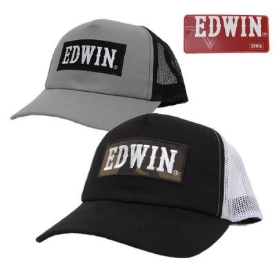 メッシュキャップ 帽子 メンズ EDWIN エドウイン 迷彩ワッペンツイル