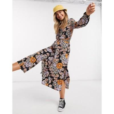 モンキ レディース ワンピース トップス Monki Venera flower print shirt dress in multi