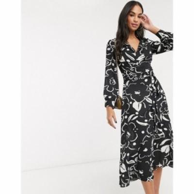 エイソス ASOS DESIGN レディース ワンピース ラップドレス ワンピース・ドレス Wrap Front Midi Dress In Abstract Floral Print
