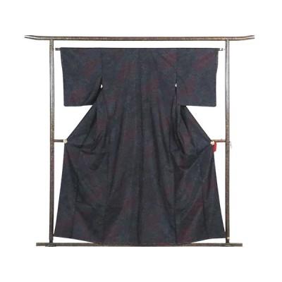 リサイクル着物 紬 正絹黒地横双絣袷大島紬着物