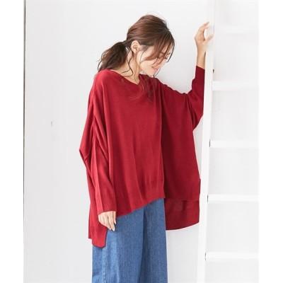 洗濯機で洗える ゆったりスクエアフォルムVネックニットセーター (ニット・セーター)(レディース)Knitting, Sweater, テレワーク, 在宅, リモート