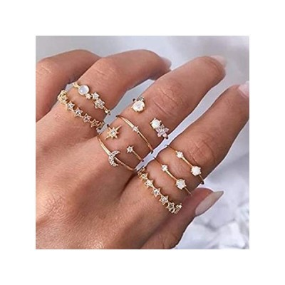 Outyua Bohomain Rhinstone Joint Knuckle Rings Set Gold Star Moon Stacking M