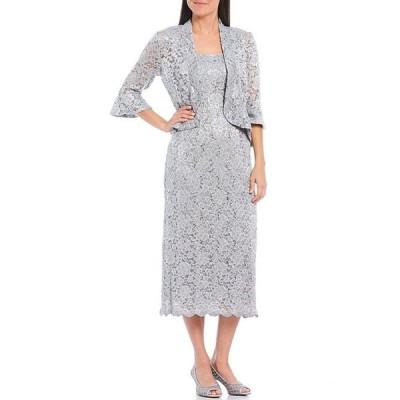 アールアンドエムリチャーズ レディース ワンピース トップス Petite Size Bell Sleeve Lace 2-Piece Jacket Dress