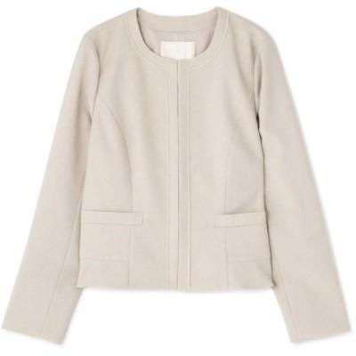 ◆大きいサイズ◆ワルツツイル広巾ノーカラージャケット ベージュ3