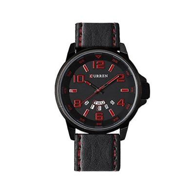 腕時計 曜日 日付 メンズ アナログ 時計 レザーバンド 防水 curren 8240 ブラック レッド