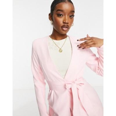 クラブエル ロンドン レディース ジャケット・ブルゾン アウター Club L London tailored belted wrap blazer in pink