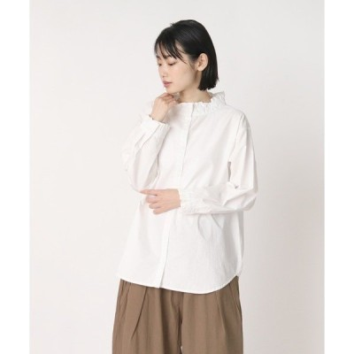 シャツ ブラウス 【ubasoku / ウバソク】襟・カウス フリルブラウス ub-0307 BNT