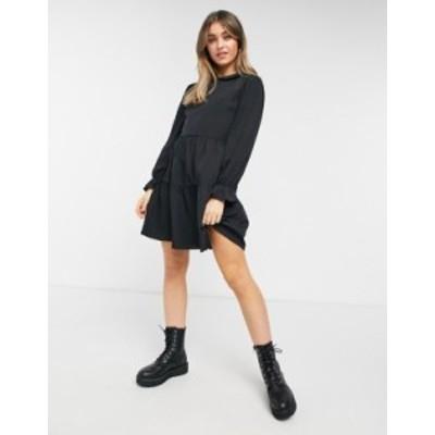 ニュールック レディース ワンピース トップス New Look collar detail smock mini dress in black Black