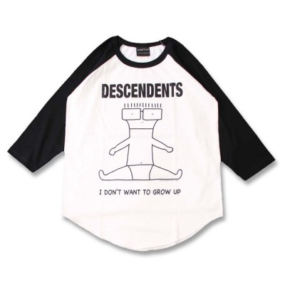 (W) ディセンデンツ DESCENDENTS 1 WHT×BLK B/B(七分袖) ラグラン ベースボールTシャツ 7分袖 バンドTシャツ ロックTシャツ
