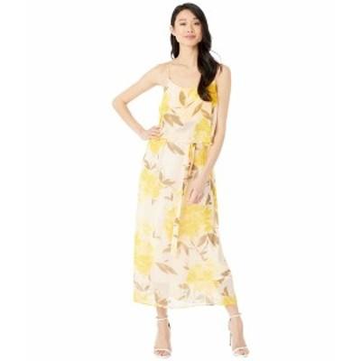 アメリカンローズ レディース ワンピース トップス Adley Floral Print Midi Dress Peach/Yellow