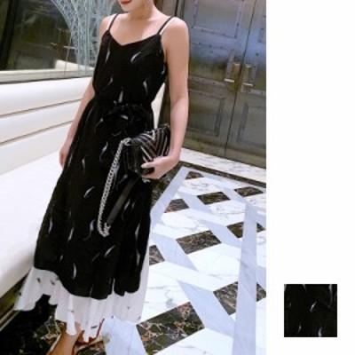リゾートワンピース ワンピース リゾート 韓国 ファッション  春 夏 新作 カジュアル naloF683  マキシワンピース モノトーン フェイクレ