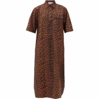 ガニー Ganni レディース ワンピース シャツワンピース ワンピース・ドレス Leopard-print cotton-poplin shirt dress Dark brown