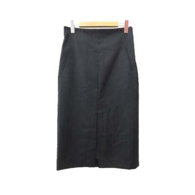 【中古】ウィムガゼット Whim Gazette ロング スカート ストライプ セミタイト センタースリット 36 Mサイズ 黒 ブラック S NVW  【ベクトル 古着】