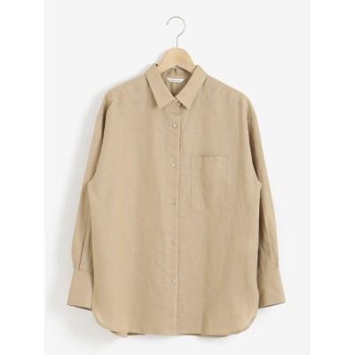 le.coeur blanc コットン麻オーバーシャツ(ブラウン)