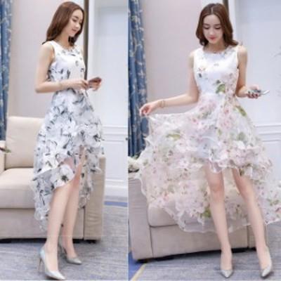 ミニドレス パーティードレス フィッシュテール ミニ ドレス ワンピース ノースリーブ 花柄 ティアードスカート 透け感