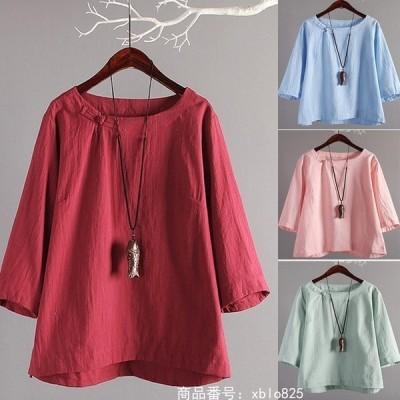 ブラウスレディースチュニック40代トップスシャツ半袖夏リネン綿麻無地カットソー体型カバーゆったり大きいサイズおしゃれ20代30代