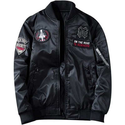 kiden メンズ ミリタリー ジャケット中綿 両面着 MA1 フライトジャケット ジャンパー 秋春冬 ブルゾン カジュアル 刺繍 大きいサイズ 防風