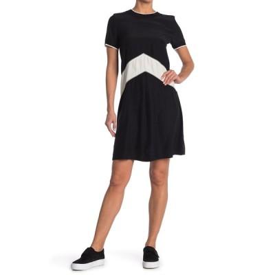 ラグアンドボーン レディース ワンピース トップス Hannah Chevron Stripe Silk Shift Dress BLK