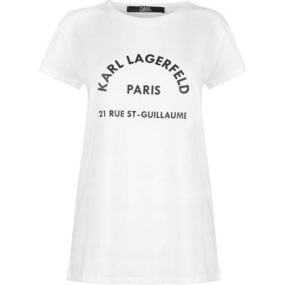 カール ラガーフェルド Karl Lagerfeld レディース Tシャツ トップス Address Tee White
