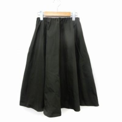 【中古】ムルーア MURUA スカート フレア 膝下丈 ウエストゴム シンプル M カーキ /ST20 レディース