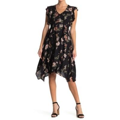 アンジー レディース ワンピース トップス Flutter Trim Floral Print Dress BLACK