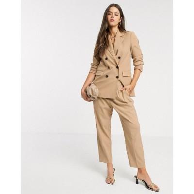 マンゴ レディース カジュアルパンツ ボトムス Mango elasticated tailored pants two-piece in camel Brown