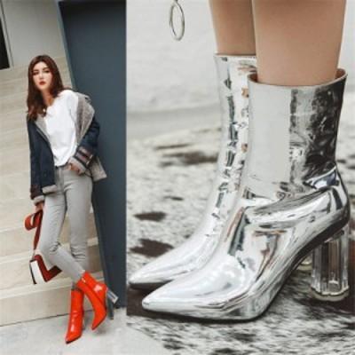 アンクルブーツ 冬靴 ショートブーツ ミドルヒール レディース 鮮やか 靴 ブーツ 全4色 エナメル22cm~26.5cm 通勤 お呼ばれ シューズ 裏