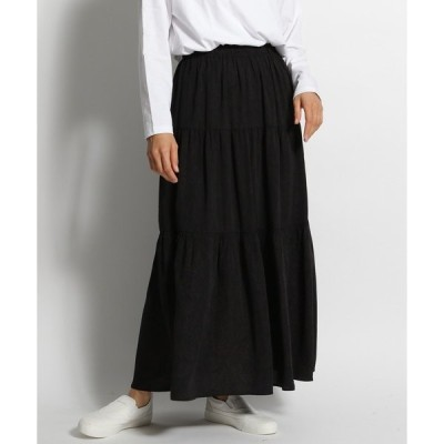 スカート 柄ティアードマキシスカート