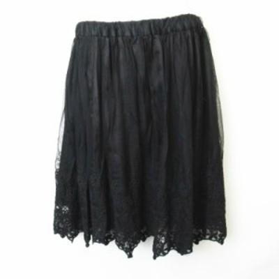 【中古】セシルマクビー CECIL McBEE フラワー刺繍 ウエストゴム チュールスカート 黒 ブラック  M レディース