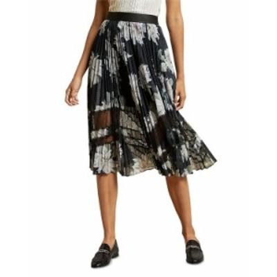 テッドベーカー レディース スカート ボトムス Floral Print Pleated Skirt Black