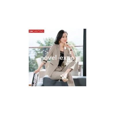 スーツレディースジャケットスラックス春夏秋1つボタン新作ベージュグレーファッションOLオフィスビジネス入園式卒業式