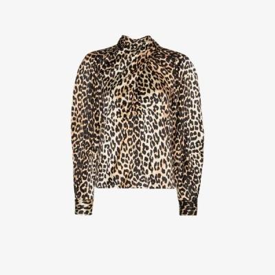 ガニー GANNI レディース ブラウス・シャツ トップス Leopard Print Silk Blouse black