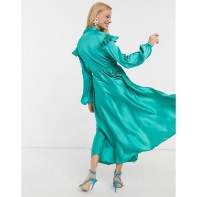 エイソス レディース ワンピース トップス ASOS DESIGN satin midi tea dress with neck tie and frill skirt Green