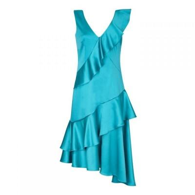 アリエラ ロンドン Ariella London レディース パーティードレス ワンピース・ドレス Ariella Jamila Satin Frill Dress TURQUOISE