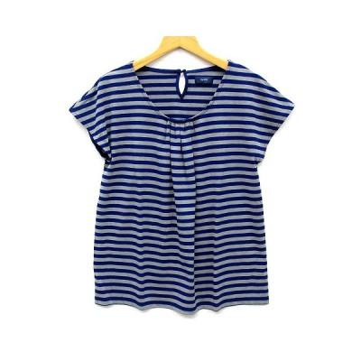 【中古】シップス SHIPS ボーダー タック Tシャツ カットソー 半袖 ネイビー グレー 紺 312340034 美品 レディース 【ベクトル 古着】