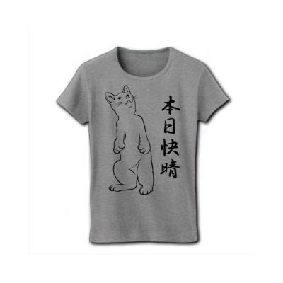 「本日快晴」立ち猫 リブクルーネックTシャツ(グレー)