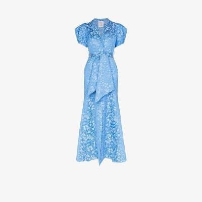 ロージーアスリン Rosie Assoulin レディース ワンピース マキシ丈 ワンピース・ドレス pouf sleeve floral jacquard maxi dress blue