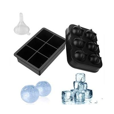 McoMce アイスキューブトレイ 再利用可能 シリコーン 大型スクエアアイスキューブトレイ アイスボールメーカー こぼれにくい蓋付き 簡単に解放でき