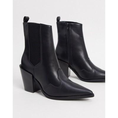 トゥラッフル レディース ブーツ&レインブーツ シューズ Truffle Collection western boots in black Black