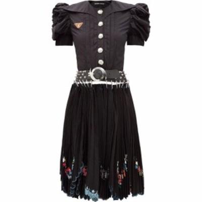 チョポヴァ ロウェナ Chopova Lowena レディース ワンピース ワンピース・ドレス Puff-sleeve embroidered cotton-poplin dress Black