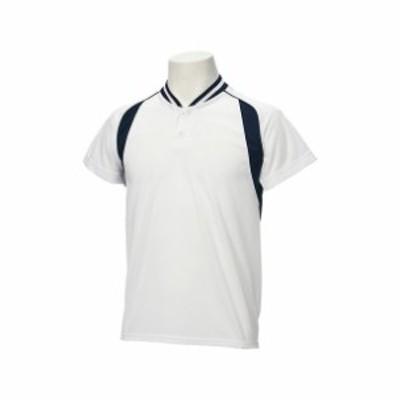 Jr.ベースボールシャツ(ホワイトxネイビー)【ASICS】アシックス(BAD12J-0150)