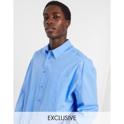 コルージョン メンズ シャツ トップス COLLUSION long sleeve shirt in blue