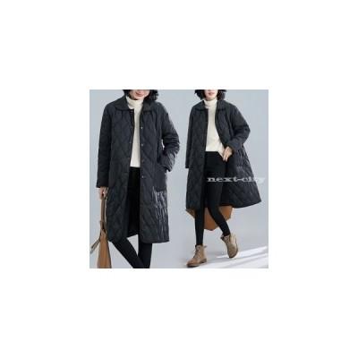ロングコート レディース コート 中綿ジャケット キルティング 折襟 無地 ブラック 普通着 お出かけ 通勤 保温 暖か コットン 30代 40代