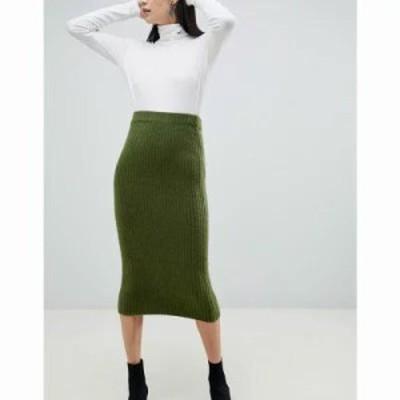 エイソス ひざ丈スカート wide rib midi skirt Dark green