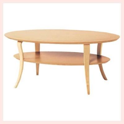 ウッドオーバルテーブル(収納台付き)/ナチュラル