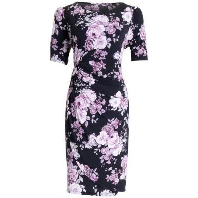 コネクテッド レディース ワンピース トップス Floral-Print Gathered-Waist Sheath Dress