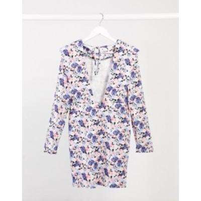 エイソス レディース ワンピース トップス ASOS DESIGN padded shoulder long sleeve mini dress with tie back in lilac and blue flora